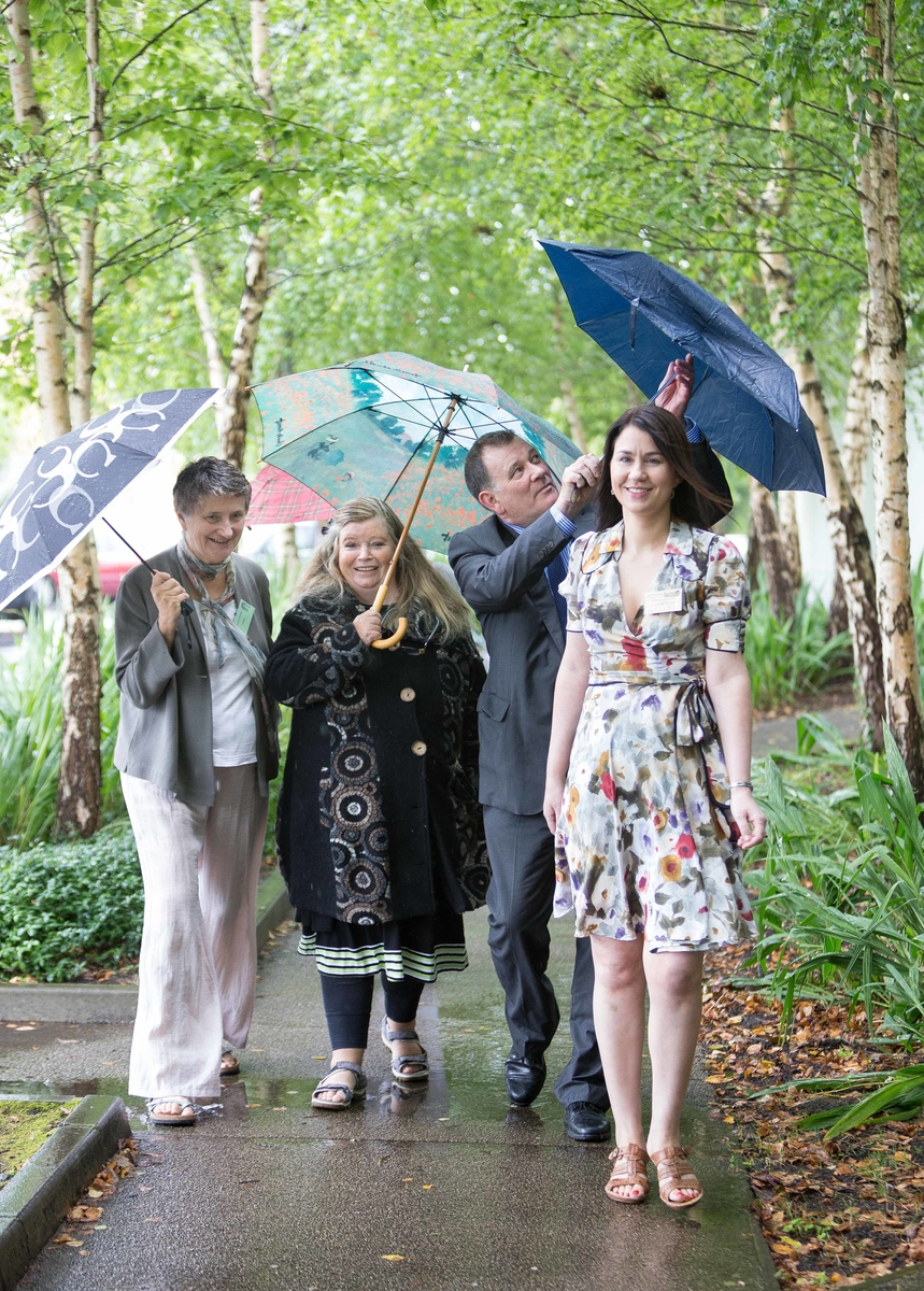 **NO REPRO FEE** Guest Speakers Carlo Gebler, Writer, Ellen McWilliams,University of Exeter,Nuala Ní Dhomhnaill,Poet and Prof Patricia Coughlan, Merriman Director arriving for the afternoon session at the Merriman Summer School 2014 at Glor, Ennis, Co Clare on Thursday. Photograph by Eamon Ward (Further info from :Doireann Ní Bhriain Press & PR Merriman Summer School 2014  087 2434814 )
